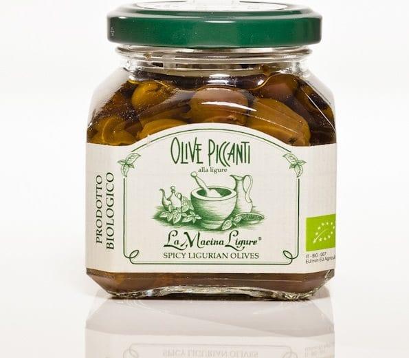 Italienske sorte oliven i olivenolie m/chili, 180g - Økotaste - Økologiske specialiteter